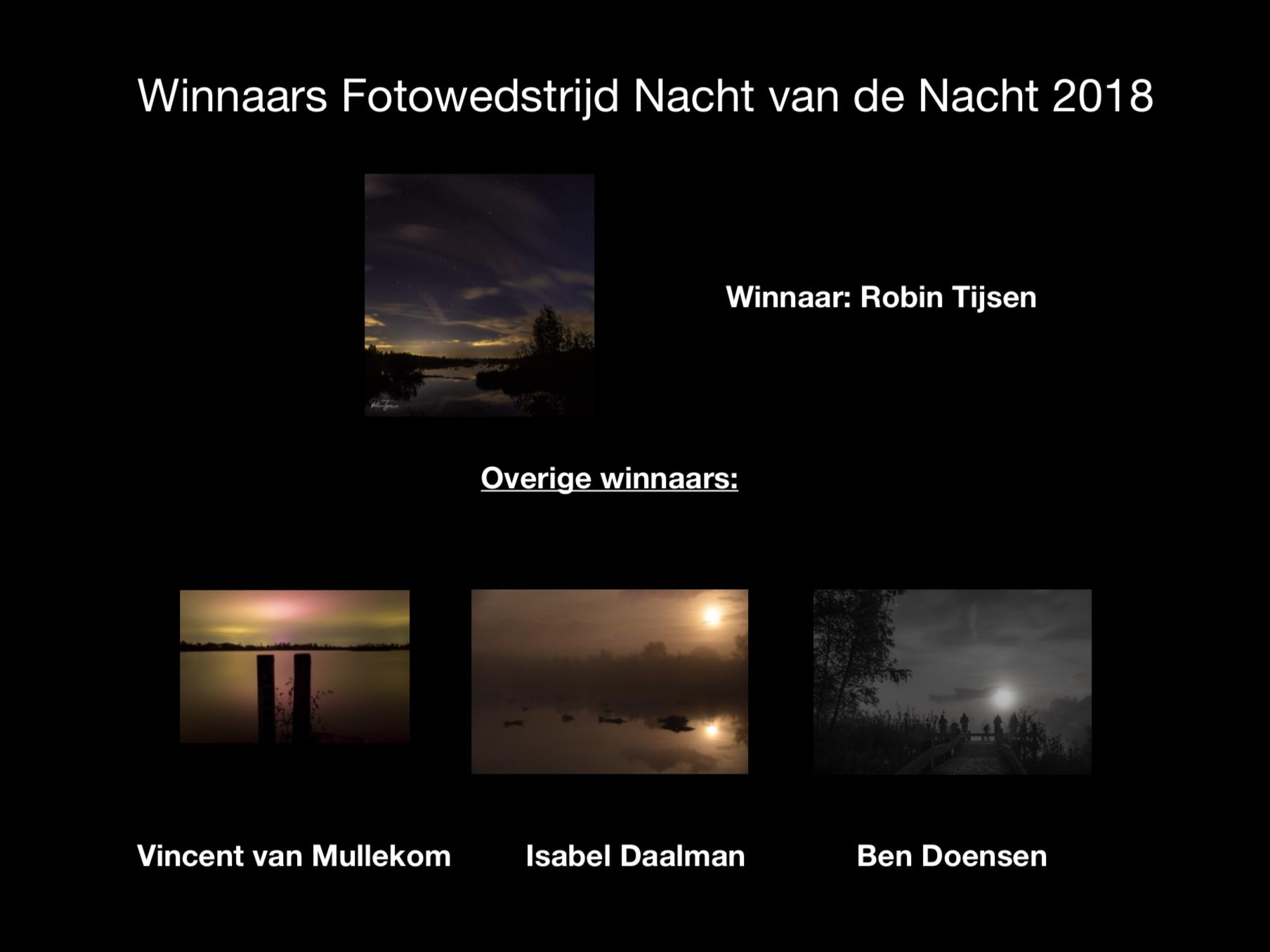 De winnaars van de Fotowedstrijd Nacht van de Nacht